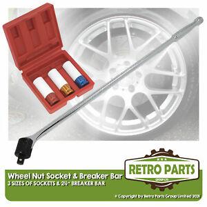 Wheel Nut Bolt Sockets & Power Bar For Jensen. Deep Stud Set 17-19-21mm