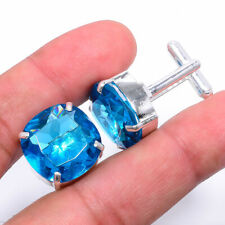 Blue Topaz Gemstone 925 Sterling Silver Cufflinks Jewelry Adj. 6363