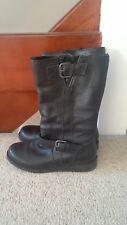 Next Black Leather Biker Boots, Size 4