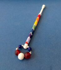 Bovine Bone Lace Bobbin. Rainbow Design on Shank. Spangles.