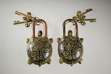 "2 Piece Lot Brass Turtle Turtles Pad Lock 3"" Width and 5"" Collectible Locks Old"