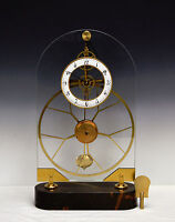 French Style Thin Glass Pinwheel Escapement Big Wheel Marble Base Skeleton Clock