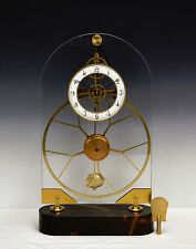 French Style Thin Glass Plated Pinwheel Escapement Great Wheel Skeleton Clock