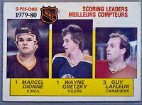 1980 O-Pee-Chee Scoring Leaders  #163 Marcel Dionne, Wayne Gretzky, Guy Lafleur