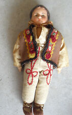 """Vintage 1940s Composition Jointed Cloth Boy Character Doll 12 1/2"""" Tall"""