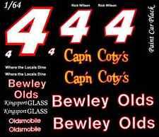 #4 Rick Wilson Bewley Olds 1986 1/64th HO Scale Slot Car Waterslide Decals • Cu