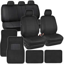 Black Pu Leather Seat Covers for Car Suv Auto w/ Front & Rear Carpet Floor Mats (Fits: Seat)