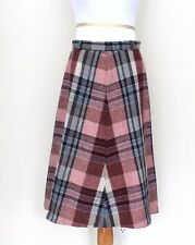 "Vintage 1960s 60s A Line Wool Skirt Plaid Flat Front Waist 28"" Pink Navy Blue"
