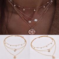 Women's Jewelry Multilayer Star Rhinestone Crystal Chain Pendant Choker Necklace
