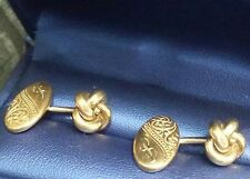 Victorian Era Gold-filled Cufflinks Hand Carved 3 D Double-sides Wearable Unix