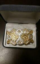 VINTAGE crumrine heavy silver plate on jewlers bronze FLORAL BELT BUCKLE