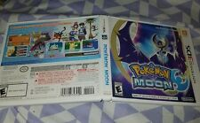 pokemon moon 3ds replacement case and paperwork only