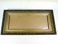 "Vintage Wood Picture Frame Gold Black Gesso 18 1/2"" x 9"" Fits 14 1/2"" x 5 1/4"""
