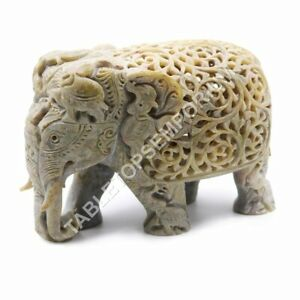 """4"""" Natural Soapstone Trunk Up Elephant Sculpture Handmade Black Friday Gift Deco"""
