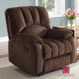 Deluxe Padded Recliner Comfort Big Tall Lazy Boy Chair Brown New