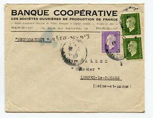 FRANCE Lettre 1945 PARIS PAIRE DULAC 3F + DULAC 1F pour LORREZ LE BOCAGE