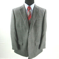 Joseph & Feiss Houndstooth Sport Coat Mens 46R 46 Blazer Gray Blue 100% Wool