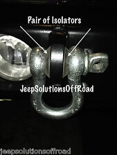 """D-Ring Shackle Isolator Jeep Towing Off Road Kit 3/4"""" Pair SILENCER Clevis"""
