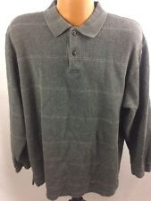 Izod Mens Large Striped Grey Long Sleeve Pull Over Polo Sweater Size XL G3-13
