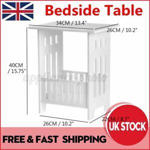 White Tea Coffee Table Sofa Side End Desk Storage Shelf Bedside Table Modern UK