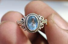 Cut Gemstone Handmade Ring 5.5 Us 925 Sterling Silver Natural Blue Topaz Oval