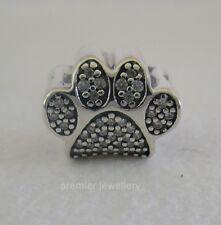 Authentic Genuine Pandora Silver CZ Dog Paw Charm 791714CZ