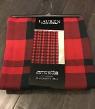 "Ralph Lauren Home Buffalo Plaid Red Black Check Shower Curtain New 70"" X 72"" Hem"