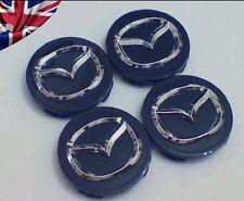 Mazda Black Gloss/Silver Chrome Alloy Wheel Centre Caps/Badge/Hub Set of 4 57mm