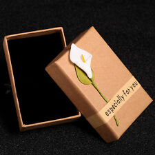 Kraft Paper Jewelry Box Calla Lily Pendant Necklace Birthday Gift Case Organizer
