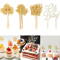 10 Pcs Glitter Oh Baby Cake Topper Baby Shower Kid Birthday Party Cupcake Decor