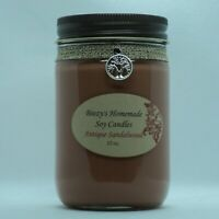 12 oz. Antique Sandalwood Handmade Natural Soy Wax Cotton WIck Brown Candle