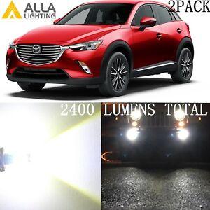 Alla Lighting Fog Light H11 6000K Super White LED Bulb Driving Lamps for Mazda