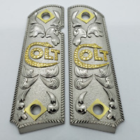 1911 Grips Government Full size Grips Ambi Cut Gold Nickel Colt 1911 Grips