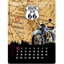 Route 66 Motorbike embossed everlasting metal calendar 400mm x 300mm  (na)