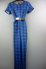 Womens Boohoo Blue Checked Jumpsuit Size UK 10 (EUR 38) - NWT