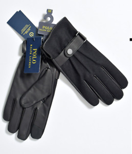 POLO RALPH LAUREN Touch  Gloves Smartphone Leather BLACK SIZE XXL BRAND NEW