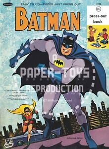 VINTAGE REPRINT - 1966 - BATMAN PRESS-OUT BOOK & ACTIVITY BOX - ONE-SHEET SET