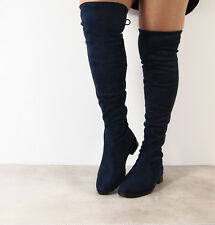 Ladies Womens Over The Knee High Thigh Stretch Flat Low Heel Boots Shoes Size