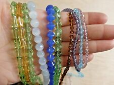 BIG Mixed Lot of 10 strands glass beads. cats eye, round, bicone Wholesale