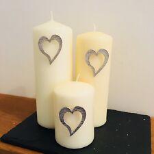 Heart Candle Decor (set of 3), Handmade UK Modern English Pewter, Heart Candle