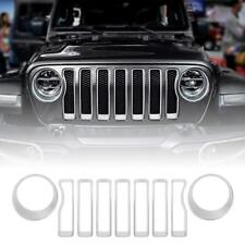 Silver Front Grille Grill Inserts & Headlight Covers for 2018 Jeep wrangler JL
