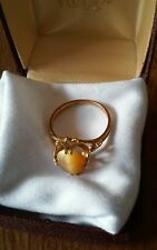10k Yellow Gold Ring With Tiger Eye Stone Size 5.75