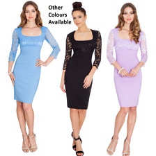 Goddess Square Neck Bengaline Lace Fitted Pencil Cocktail Party Evening Dress