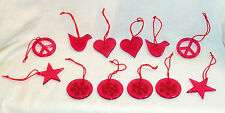 12 Red Acrylic Christmas Ornaments Peace Love Snowflake Star Peace Sign