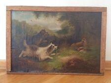 Oil Painting 19th Century British Artist G. Bateman Terriers Fox Pheasant Signed