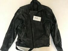 "Polo Motorcycle Jacket Real Leather Black Armpit 21"" Lgth 26"" (665)"