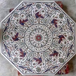 3' White Marble Dining Table Pietradura Bird Multi Stone Handmade Inlay Art W223