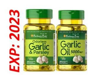 Garlic Oil 5000 mg 1+1 Garlic Parsley Odorless Antioxidant Fresh Pills 200 Total