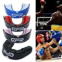 New Gel Gum Shield Case Mouth Guard Boxing MMA Junior Adult Rugby Mouthpiece CFR