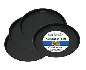 4 Stück Pizza Blech Ofen Form aus Blaublech Profiqualität rund Ø 16 cm Gastlando